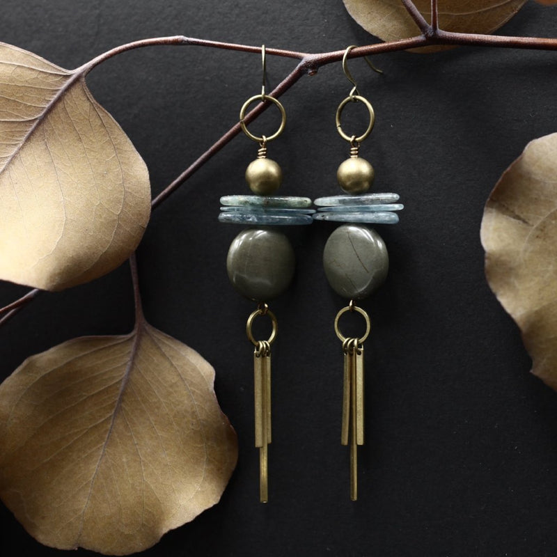 long fringe art deco earrings handmade with brass, kyanite, and jade stone in Milwaukee, Wisconsin by local designers from Cival Collective.