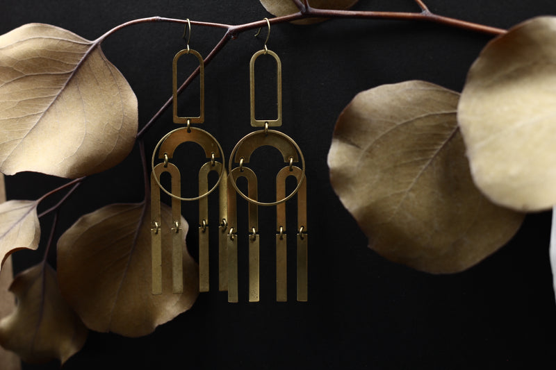 Big glamours brass chandelier earrings handmade in the Chicago vicinity by local Milwaukee designers Cival Collective.