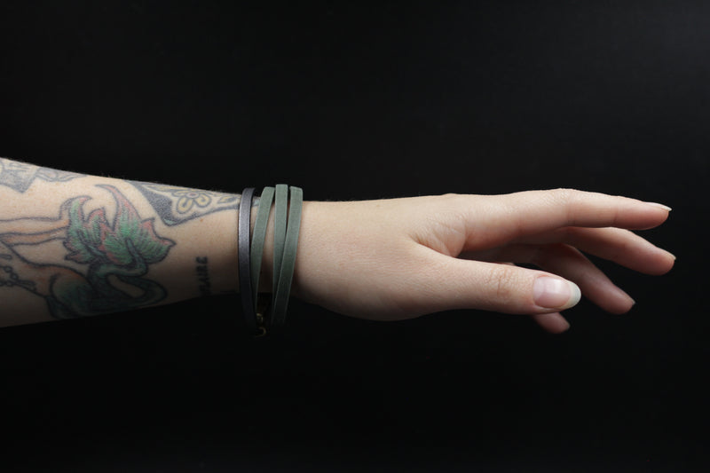 Wrap Italian leather magnetic bracelet made by hand in Milwaukee, WI by local designers at Cival Collective.