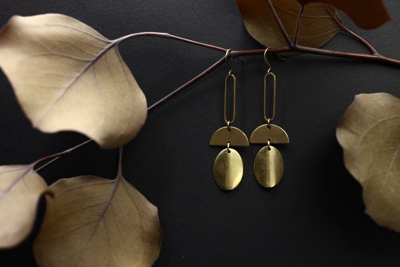 lightweight brass earrings in the Chicago vicinity by local Milwaukee jewelry artists designers Cival Collective.