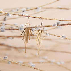lightweight brass fringe earrings made by hand in Milwaukee Wisconsin by local jewelry designers Cival Collective.