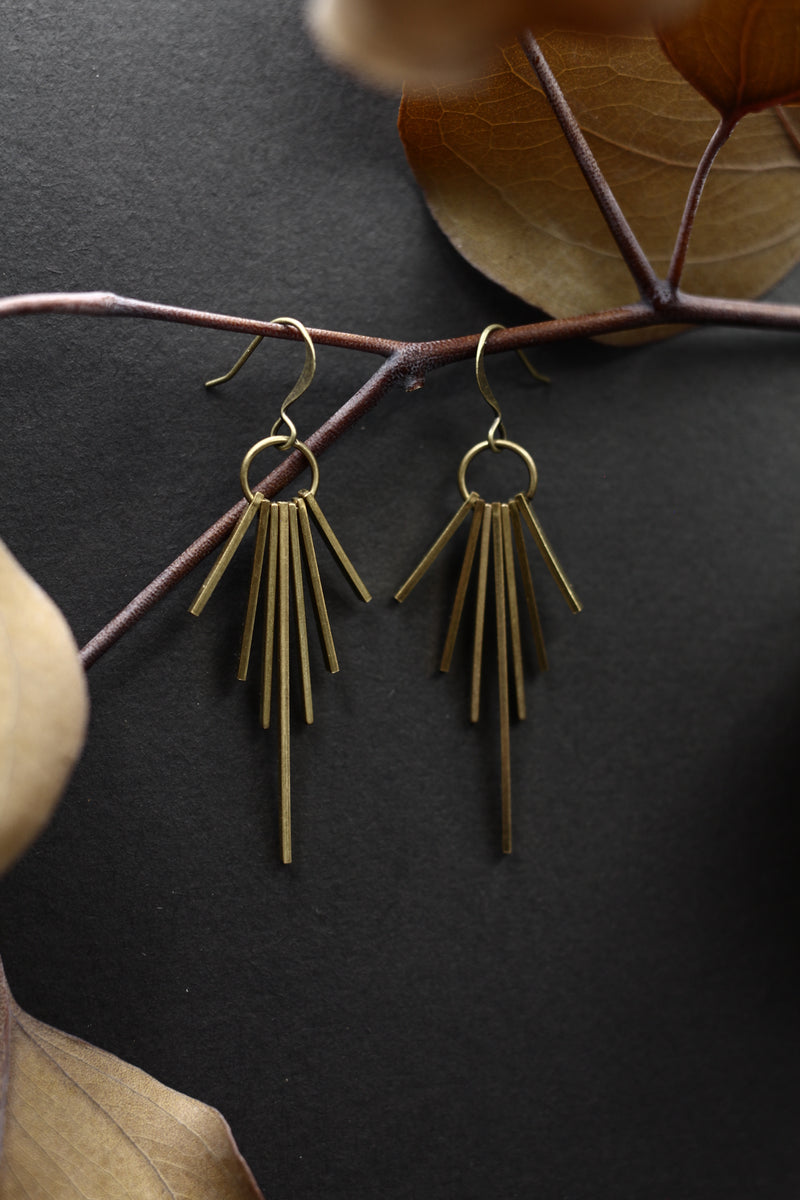 lightweight brass fringe earrings made by hand in the Midwest by local jewelry designers Cival Collective.