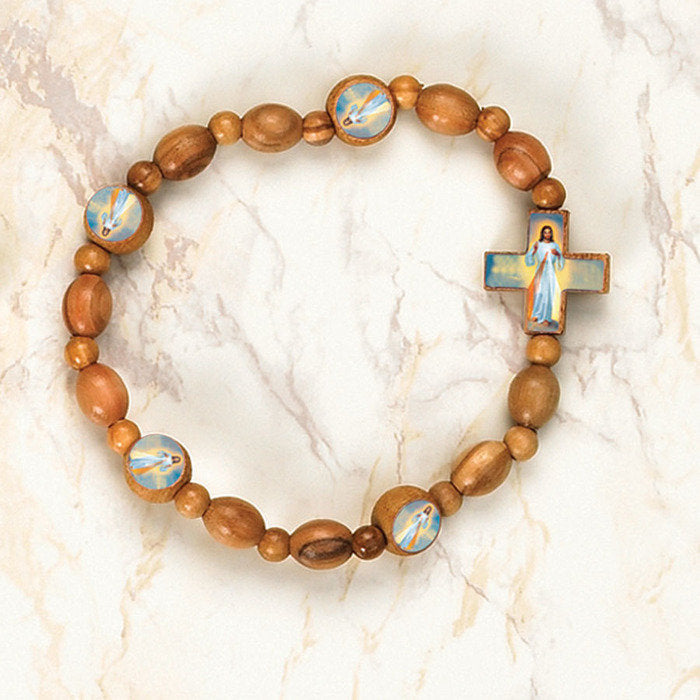 Divine Mercy Olive Wood stretch Bracelet - Pack of 6