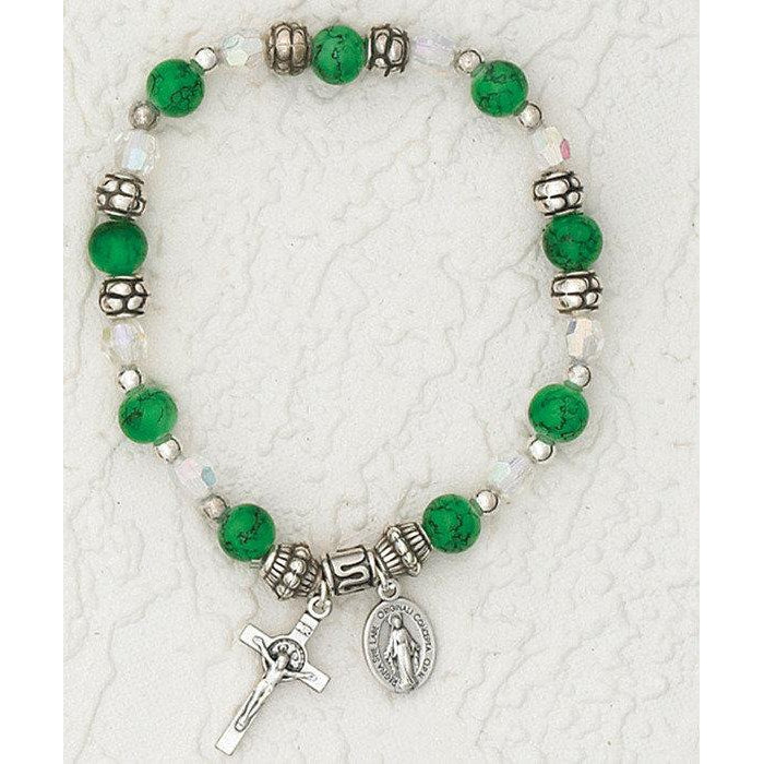 Imitation Emerald - Italian Birthstone Stretch Bracelet 6 mm - Pack of 4