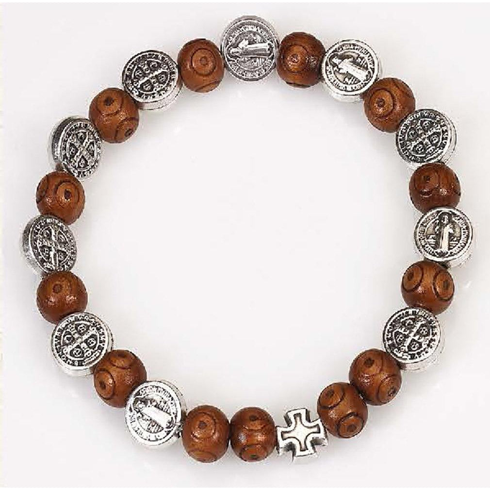 Saint Benedict Wood and Silver tone Medal Rosary Bracelet - Pack of 4