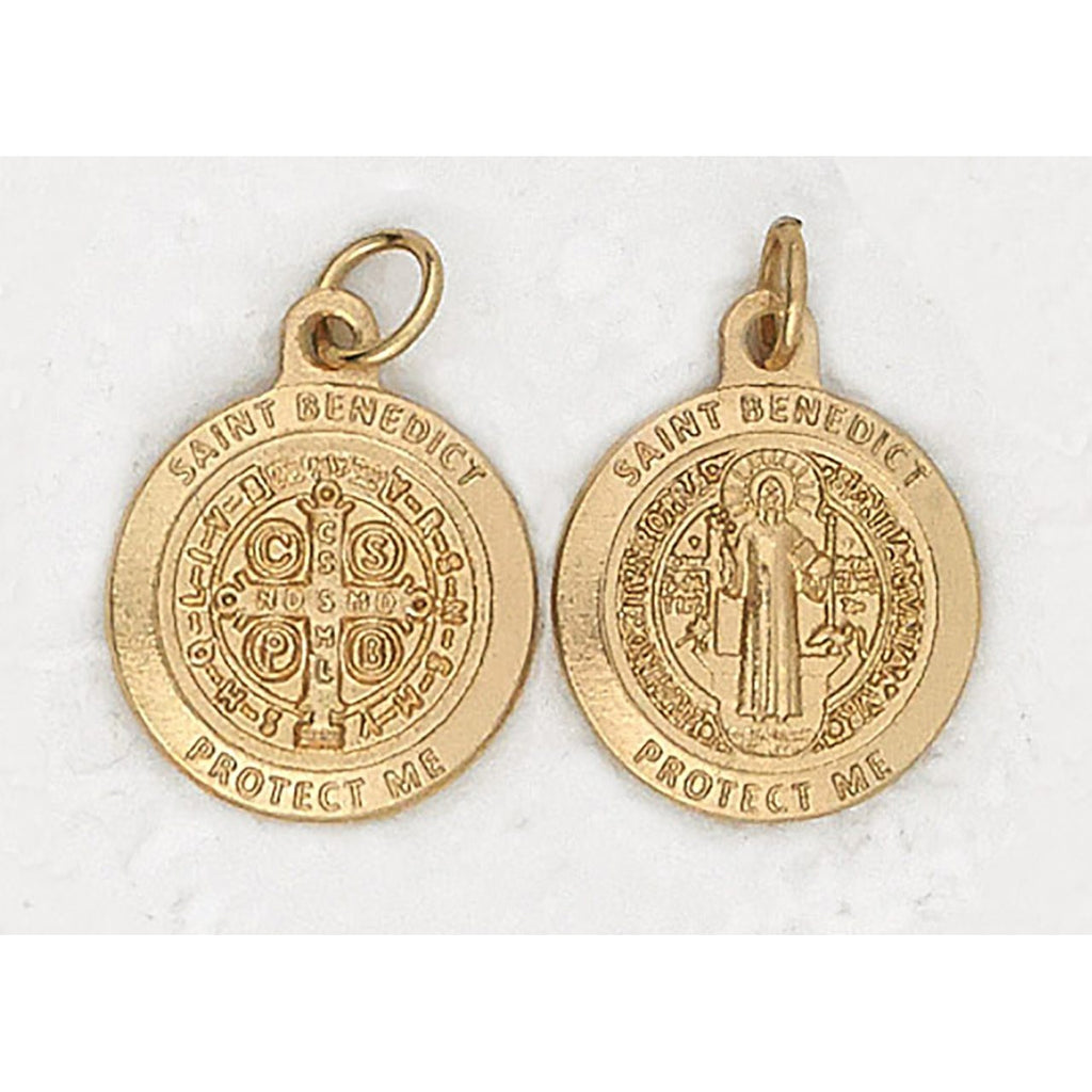 Premium Saint Benedict Double Sided Round Gold Tone Medal - 4 Options