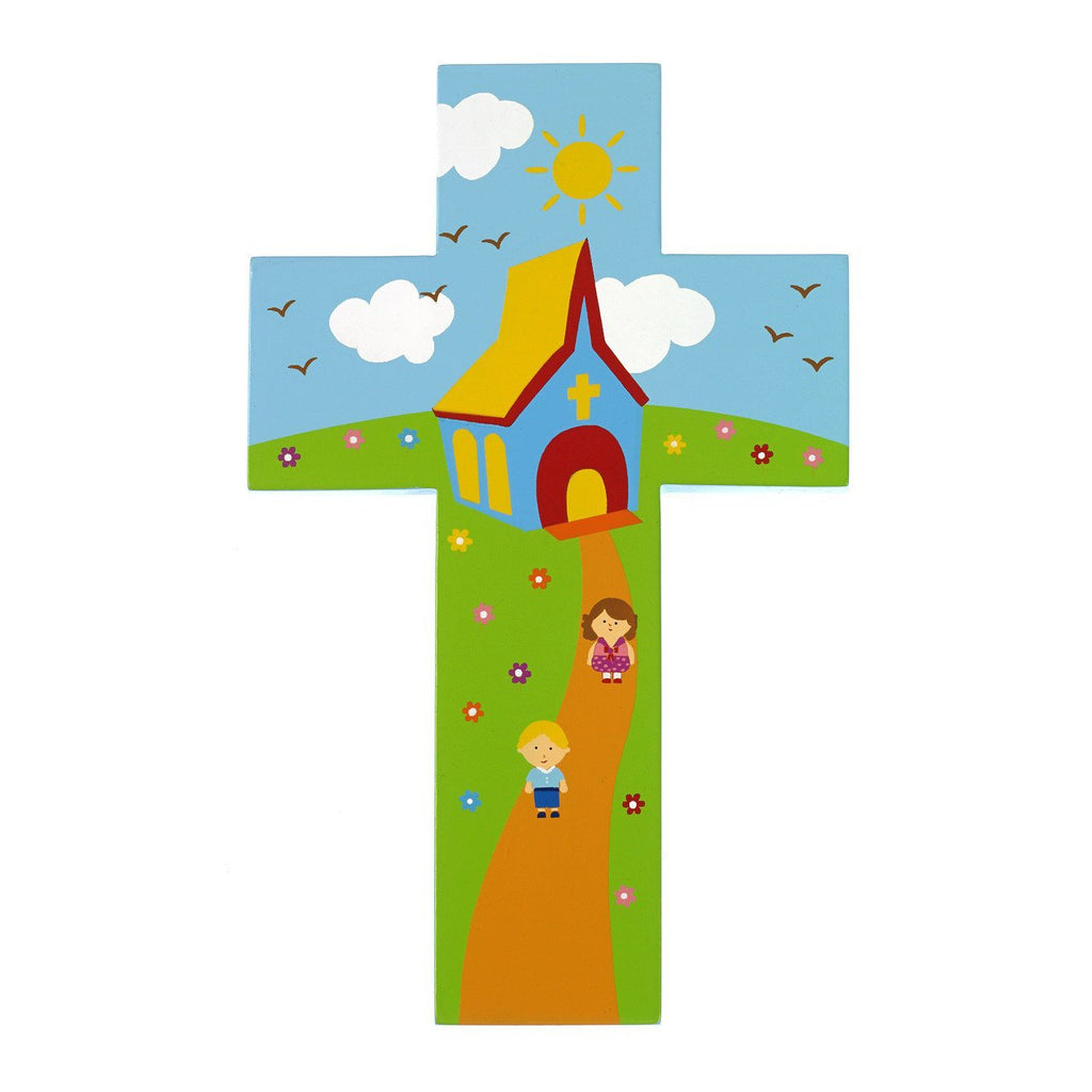 8 inch Wood Cross- Children outside Church - Pack of 4