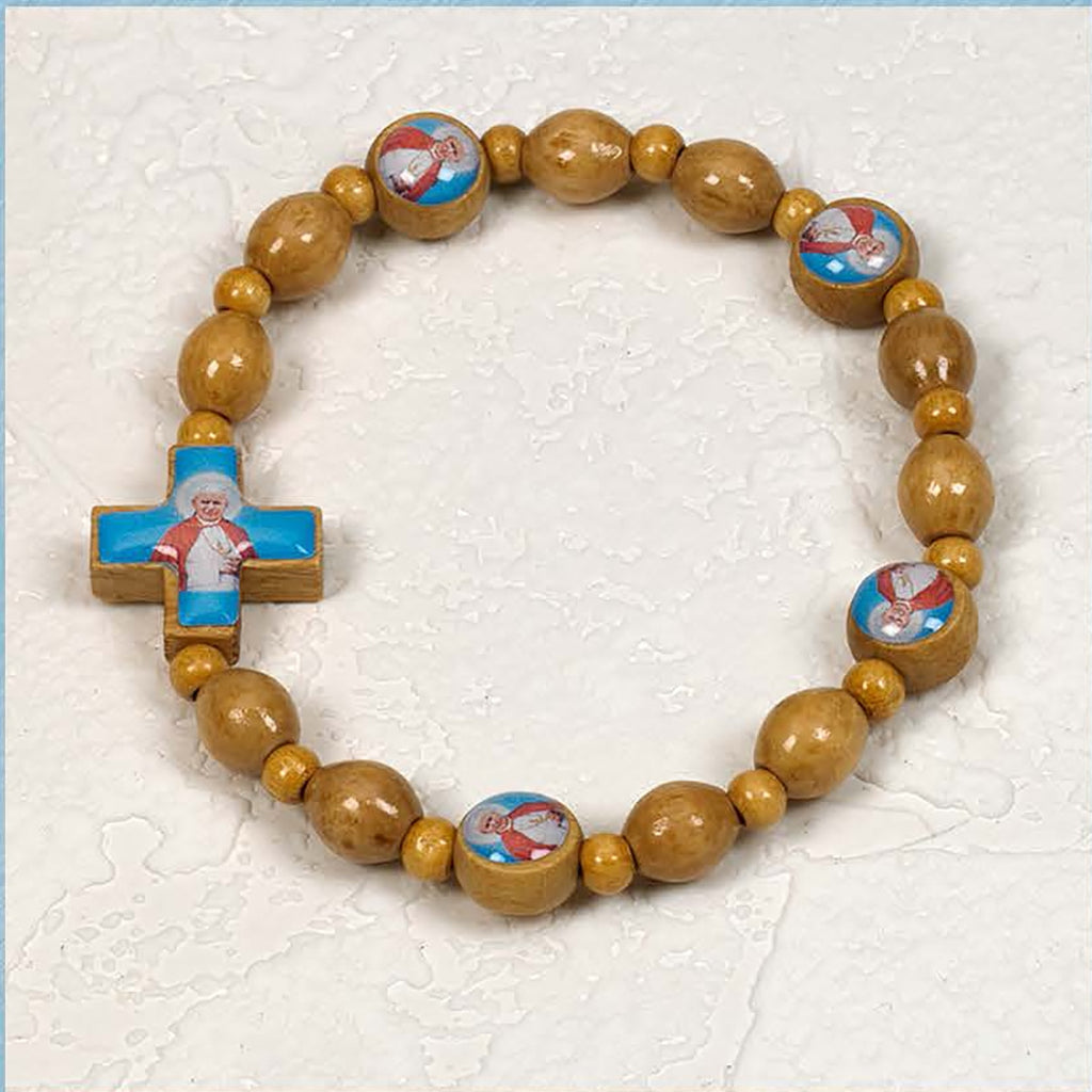 Saint John Paul II - Italian Olive Wood Stretch Bracelet