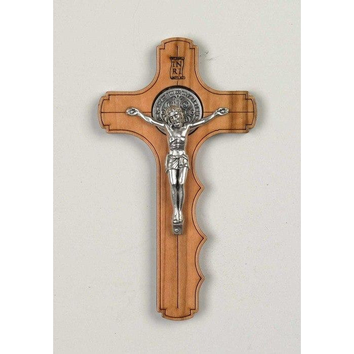 Saint Benedict Olive Wood Palm Cross - Silver Tone Medal
