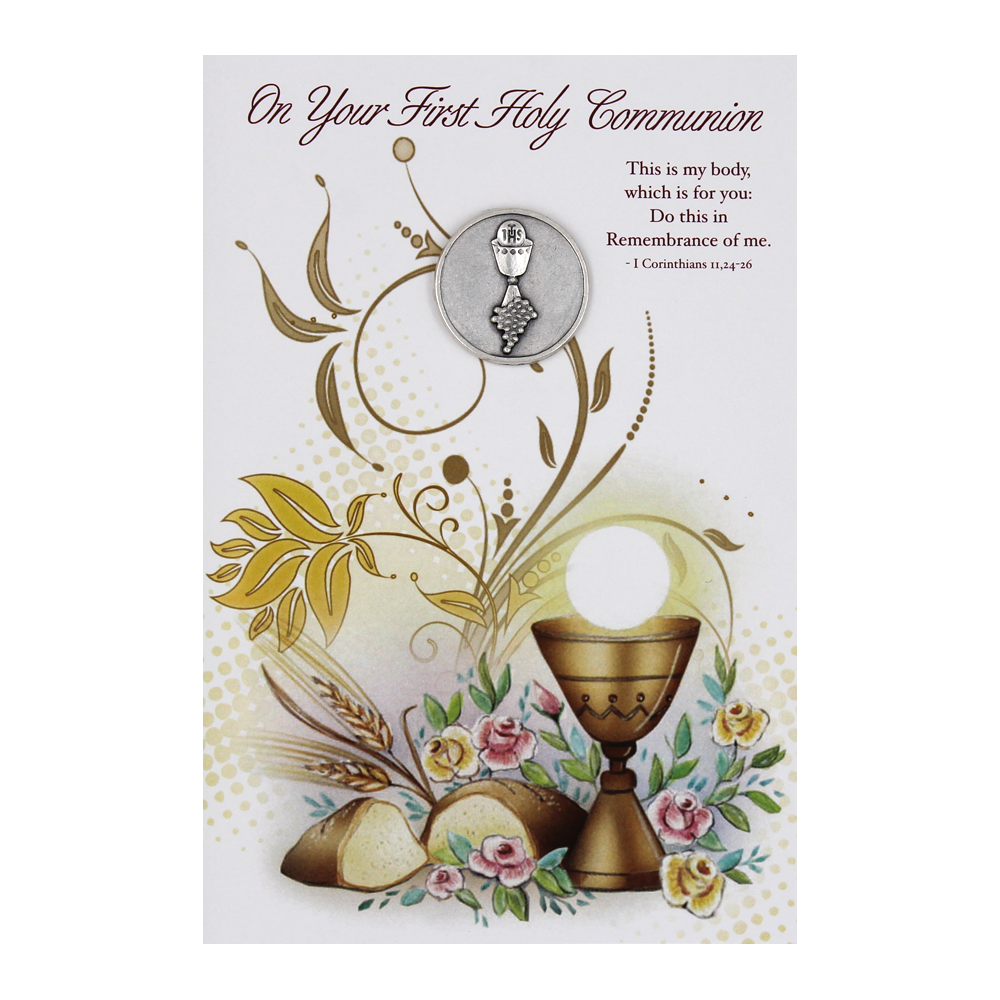 First Holy Communion Card with Token - Pack of 6