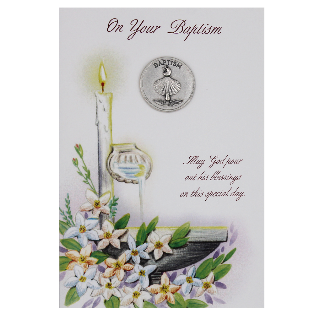 Baptism Card with Token -  Pack of 6