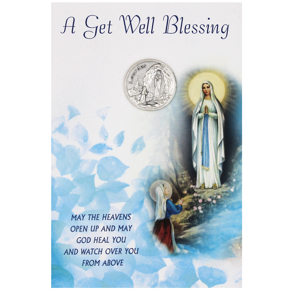 Get Well soon - Lady of Lourdes Card with Removable Token - Pack of 6