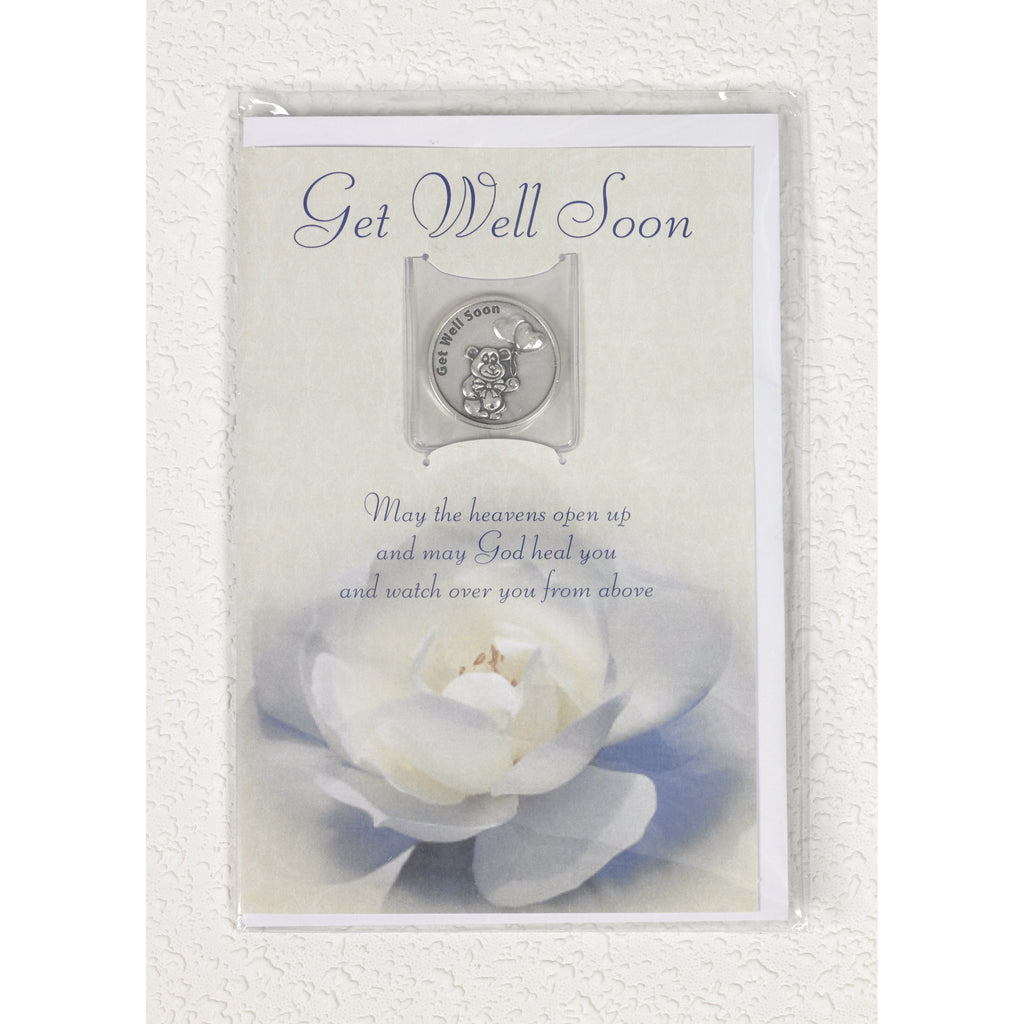 Get Well soon  Flower Card with Removable Token - Pack of 6