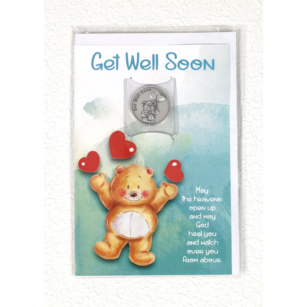 Teddy Bear Get Well soon Card with Removable Token - Pack of 6