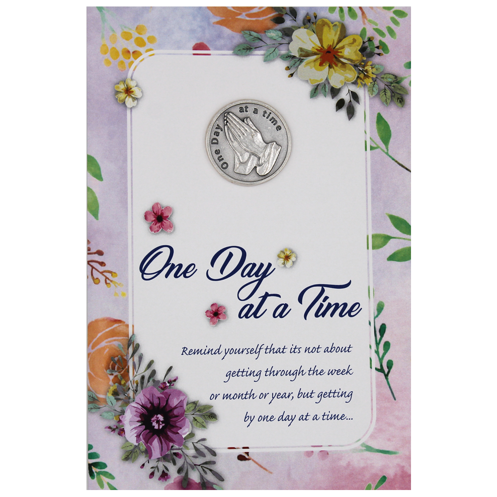 One Day at a Time Greeting Card with Removable Pocket Token and Envelope