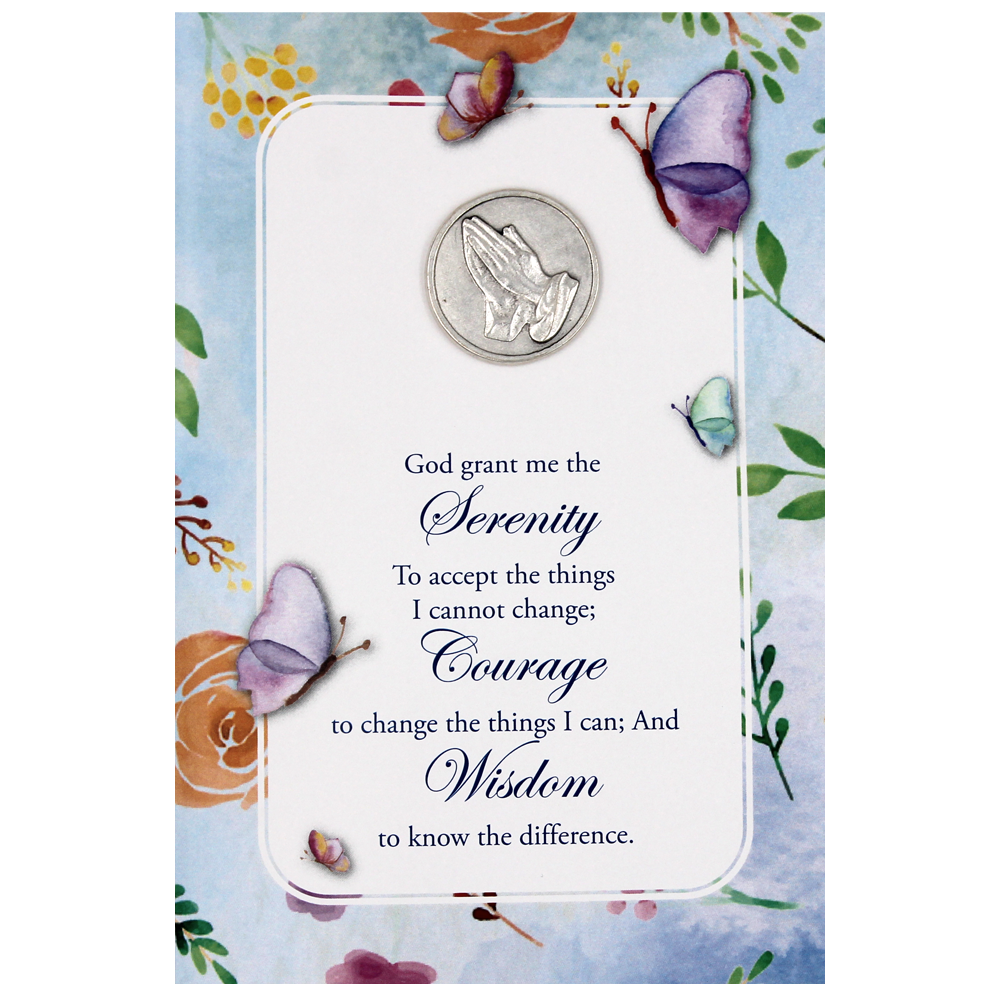 Serenity Prayer Greeting Card with Removable Pocket Token and Envelope