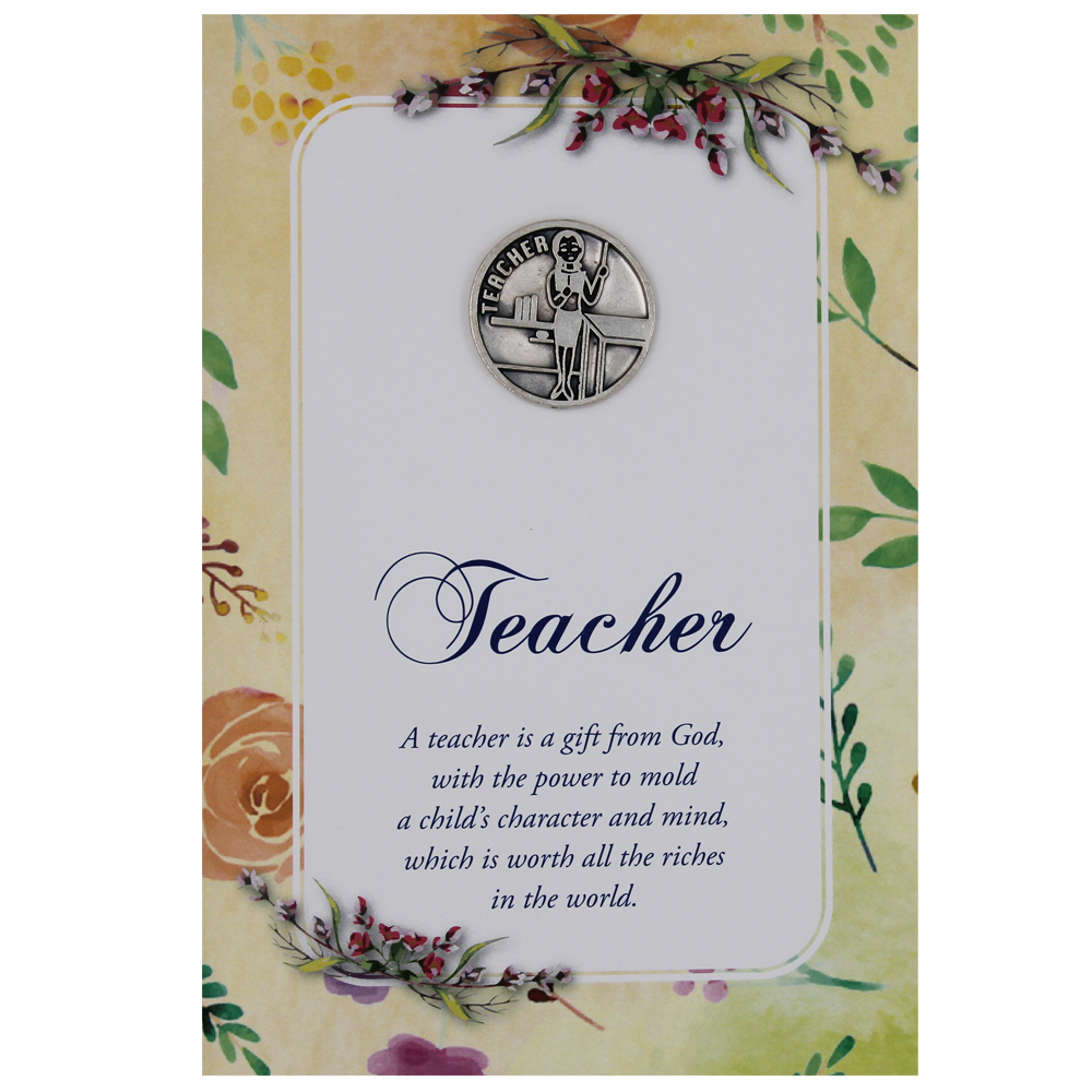 Teacher Greeting Card with Removable Pocket Token and Envelope