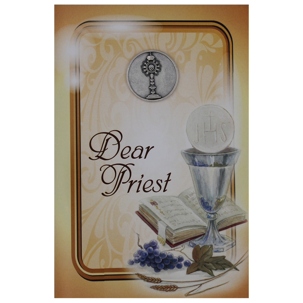 Dear Priest Greeting Card with Removable Pocket Token and Envelope