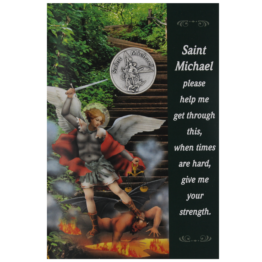 Saint Michael Greeting Card with Removable Pocket Token and Envelope