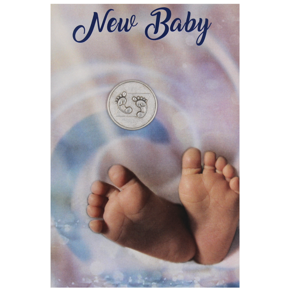 New Baby Greeting Card with Removable Pocket Token and Envelope