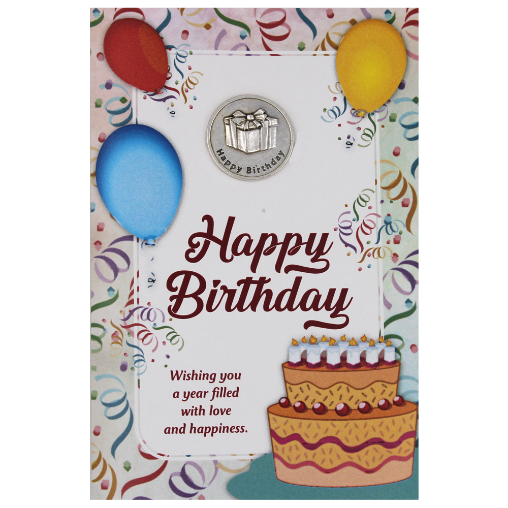 Happy Birthday Greeting Card with Removable Pocket Token and Envelope
