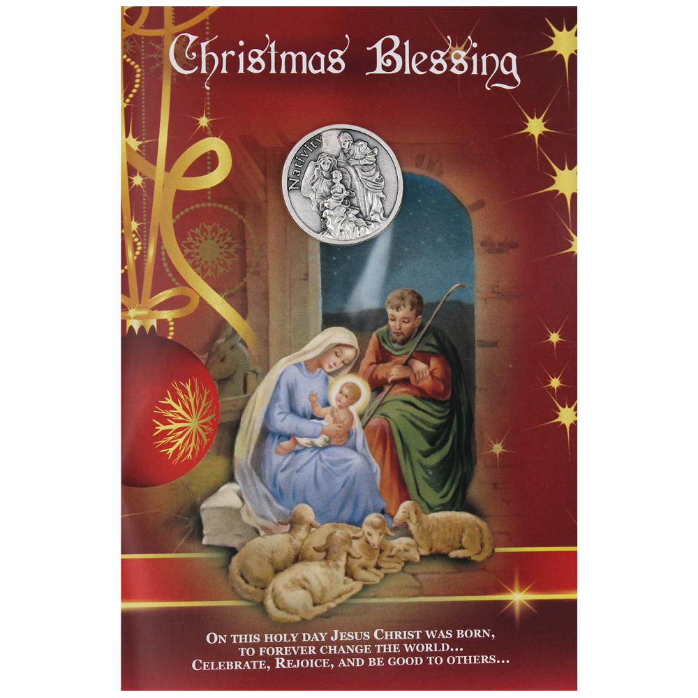Christmas Blessing Card with Removable Pocket Token and Envelope