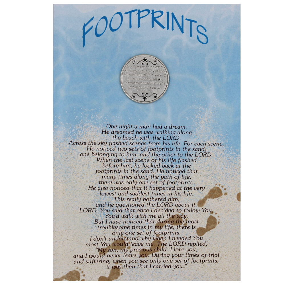 Footprints in the Sand Greeting Card with Removable Pocket Token and Envelope