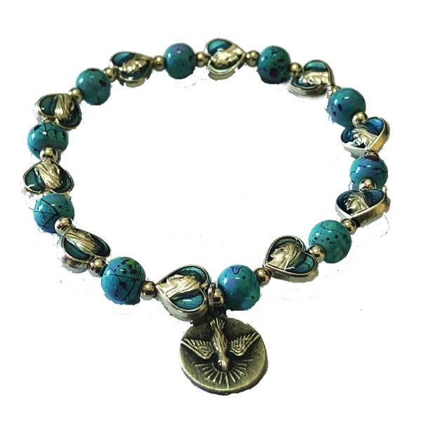 Turquoise Enamel Heart Shaped Stretch Bracelet with Silver Tone Holy Spirit Medal