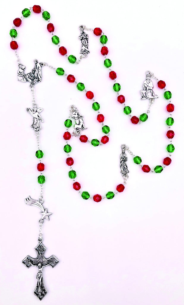 Red and Green Crystal Rosary with Holy Family Center