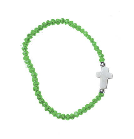 Greeen Crystal Bracelet with Mother of Pearl Cross in Unique Clear Box
