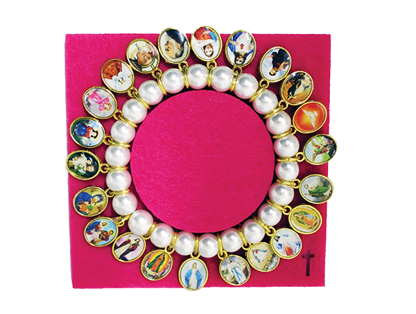 Imitation Pearl Stretch Bracelet with 22 Saints