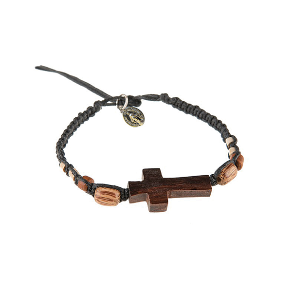 Black Men's Braided Bracelet with Wooden Cross and Miraculous Medal