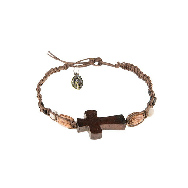 Dark Brown Men's Braided Bracelet with Wooden Cross and Miraculous Medal