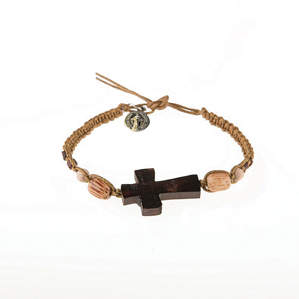 Light Brown Men's Braided Bracelet with Wooden Cross and Miraculous Medal