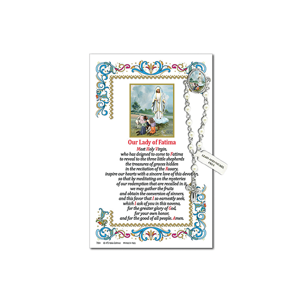 Decade Rosary Pin on Decorative Parchment Paper - Fatima
