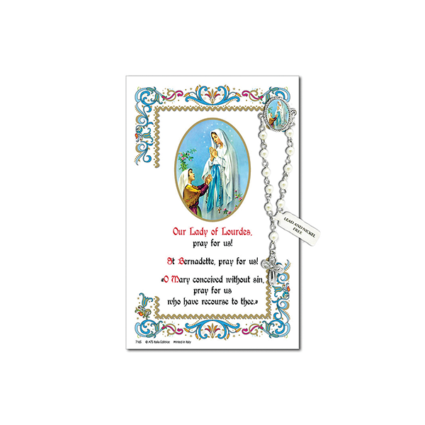 Decade Rosary Pin on Decorative Parchment Paper - Lourdes