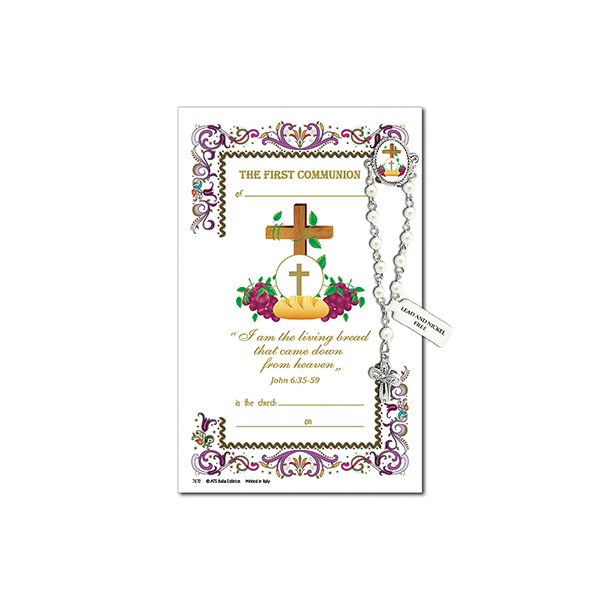 Decade Rosary Pin on Decorative Parchment Paper - Communion Cross