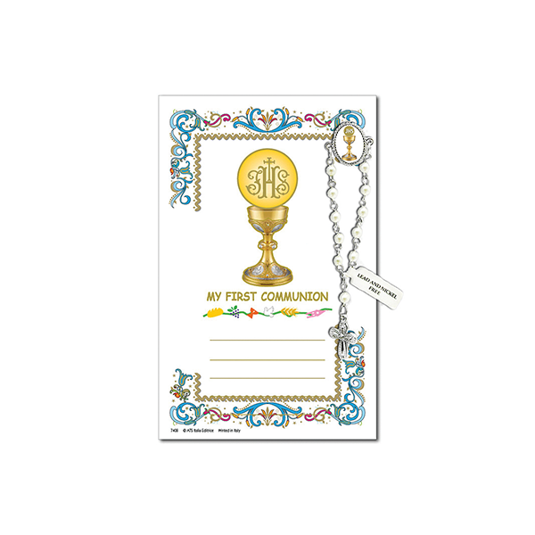 Decade Rosary Pin on Decorative Parchment Paper - Communion Chalice