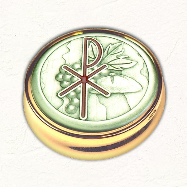 Silver-tone Grapes Chi Rho Pyx with NO LINER