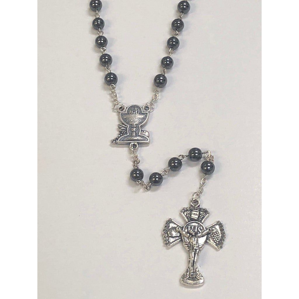 6mm First Communion Black Hematite Rosary With Silver Toned Chalice Center