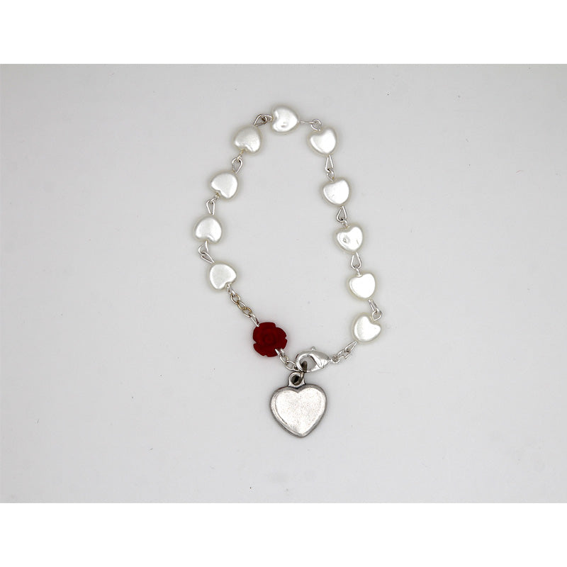 Heart Shaped Imitation Pearl Bracelet with Red Rose Resin Bead