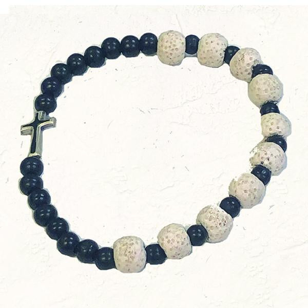 "Black Stretch Bracelet with White ""Volcanic Looking"" Beads with Enameled Cross"