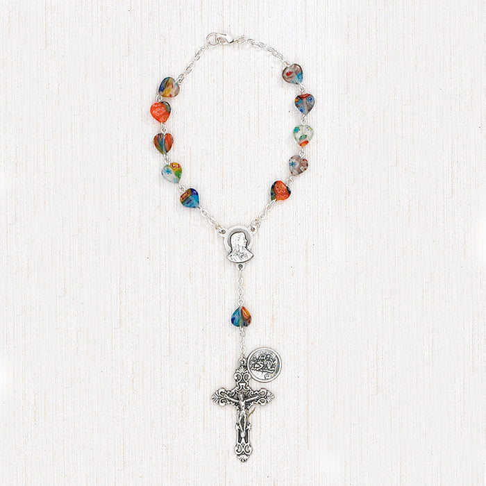 St Christopher Auto Rosary - Colorful Hearts - Pack of 3