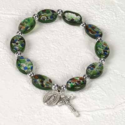 14 mm Green Oval Murano Glass Rosary Bracelet