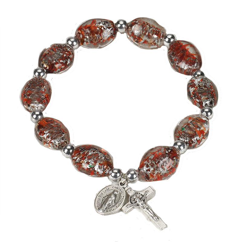 Red Oval Murano Glass Rosary Bracelet 14mm With Miraculous Medal and Crucifix