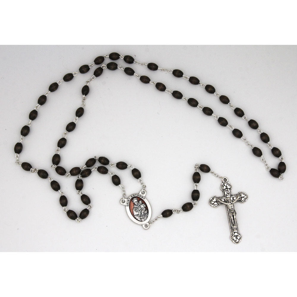 St. Anthony center and crucifix - 7mm oval beads - brown wood - silver-tone enameled