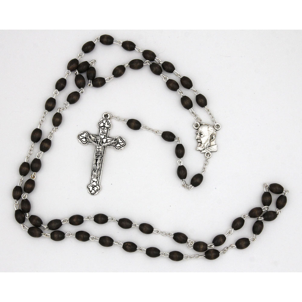 Padre Pio center and decorative crucifix - brown wood - silver-tone