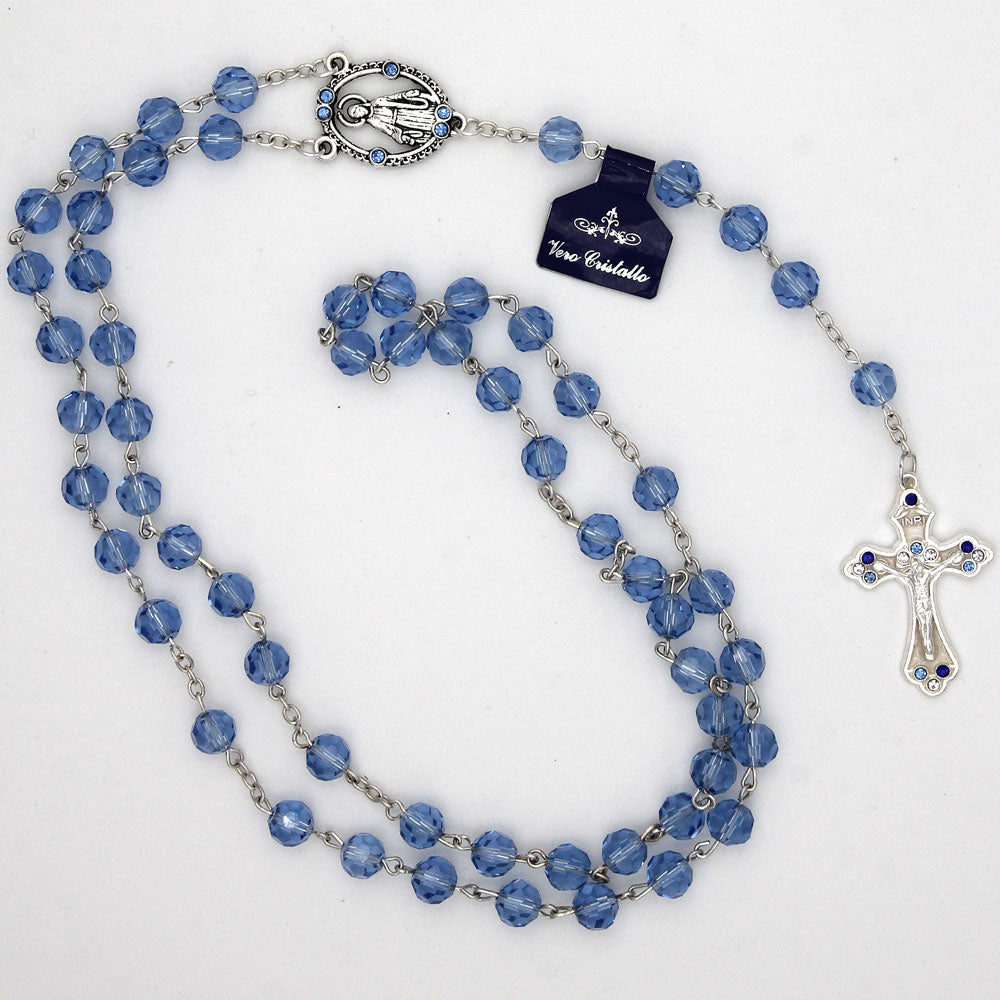 Miraculous centerpiece crystal rosary with decorative crucifix
