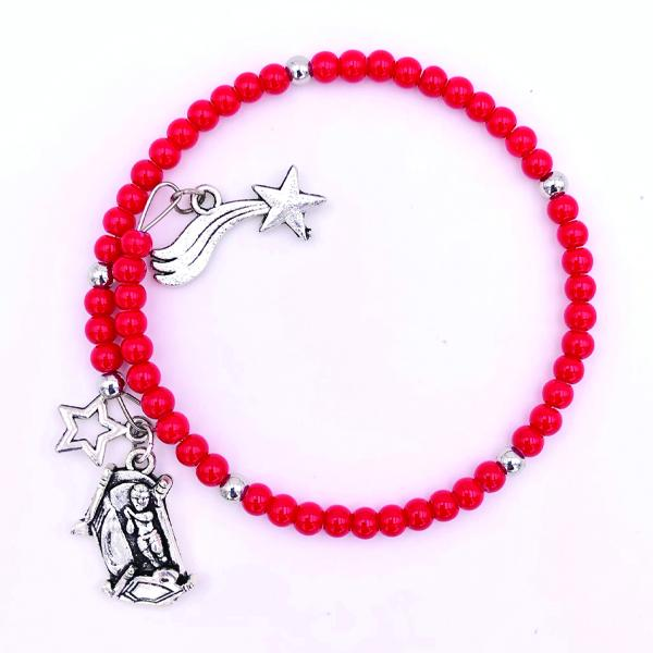 Red Bracelet with Silver-Tone Charms - CHRISTMAS IN JULY