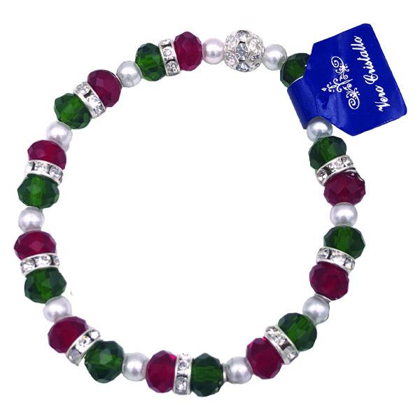 Red and Green Bracelet with Imitation Pearls